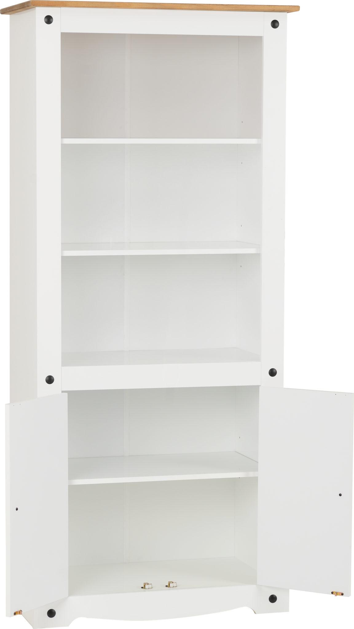 Corona 2 Door Display Unit Bookcase White Distressed Waxed Pine