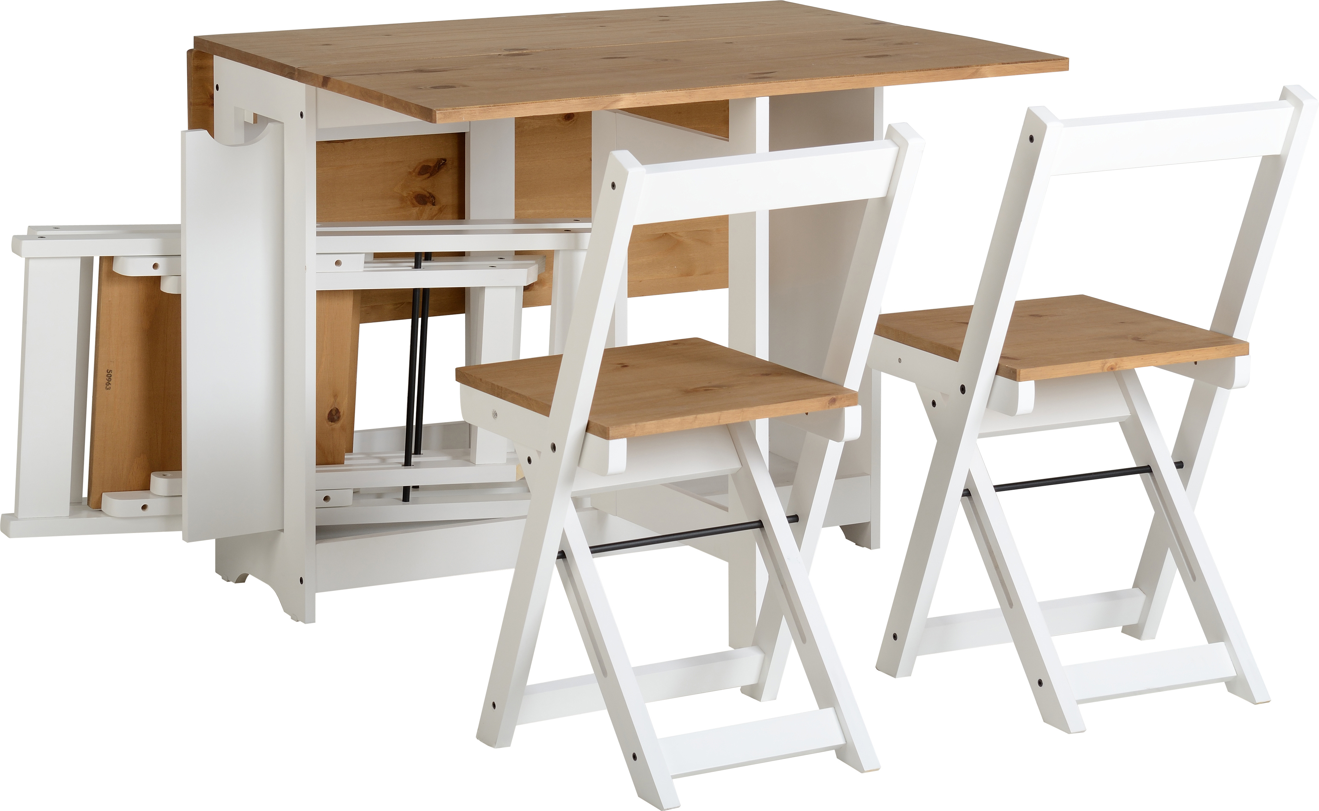 Santos Butterfly Dining Set White Distressed Waxed Pine