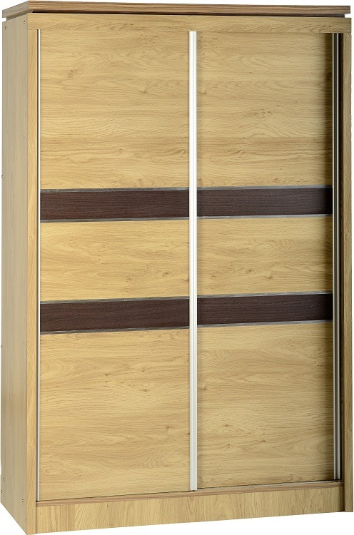 Oak Effect Veneer /& Walnut Trim Seconique Charles 2 Drawer Bedside