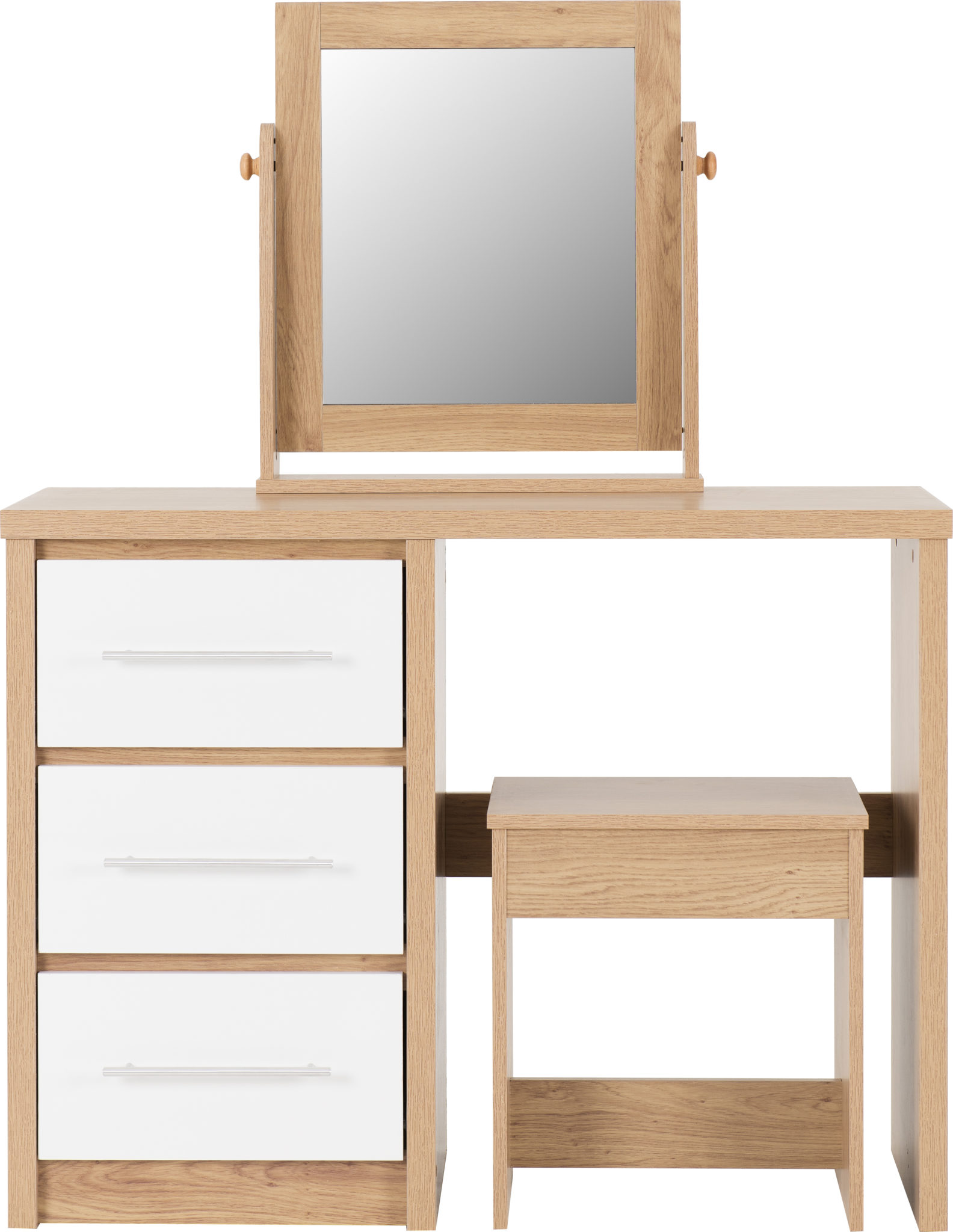 100 107 016 Seville 3 Drawer Dressing Table Set White Gloss Light Oak Effect Veneer Seconique